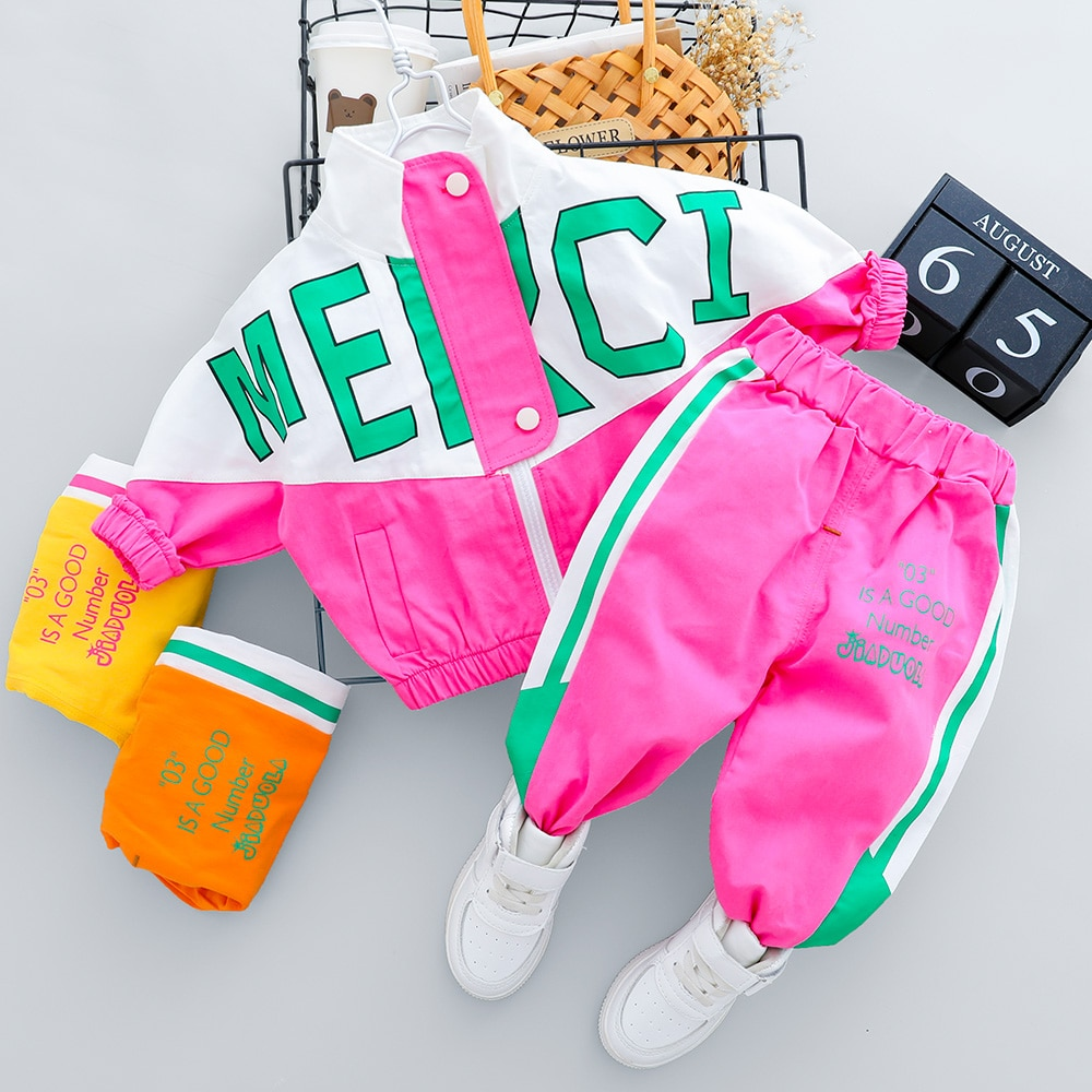 2021 Hot Kid Tracksuit Boy Girl Clothing Set New Casual Long Sleeve Letter Zipper Oufit Infant Clothes Baby Pants 1 2 3 4 Years