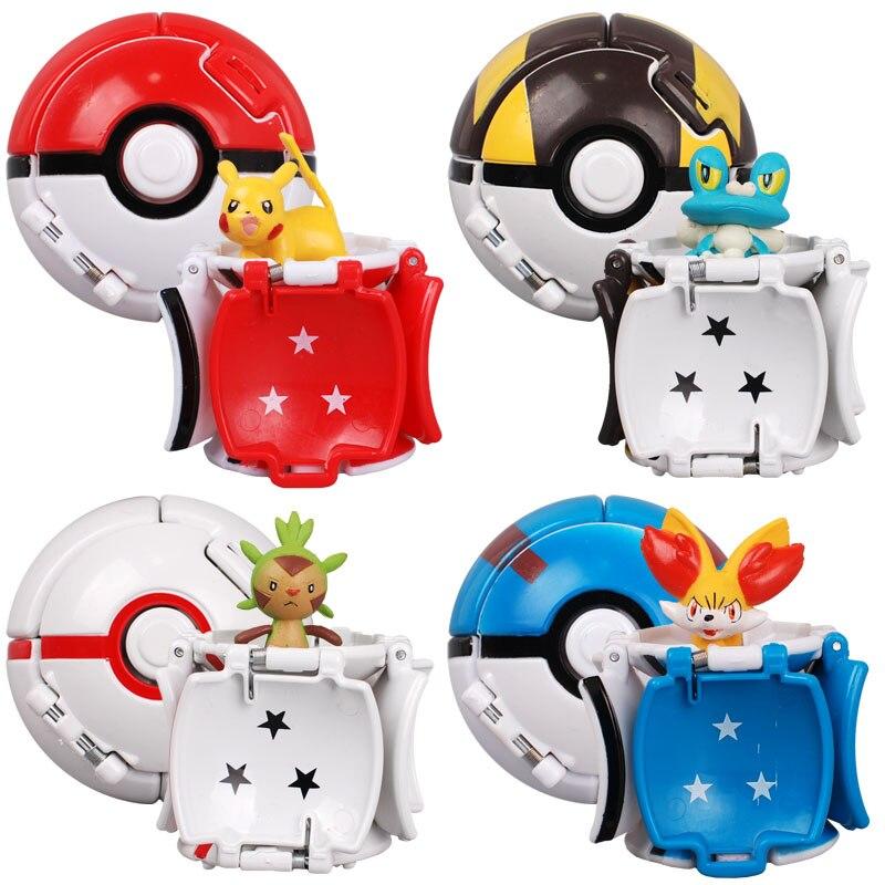 7 см покебол Pikachu покемон, Пикачу Бал эльфов, мультфильм плюшевые игрушки Аниме Фигурки игрушки для детей детские развивающие игрушки