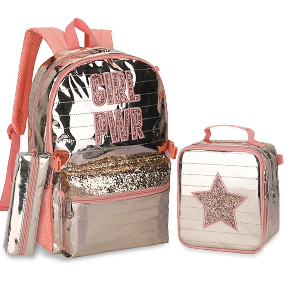 Школьные сумки, рюкзаки для школьников, подростков, девочек, водонепроницаемый рюкзак с защитой позвоночника, расшитый блестками, съемная с...