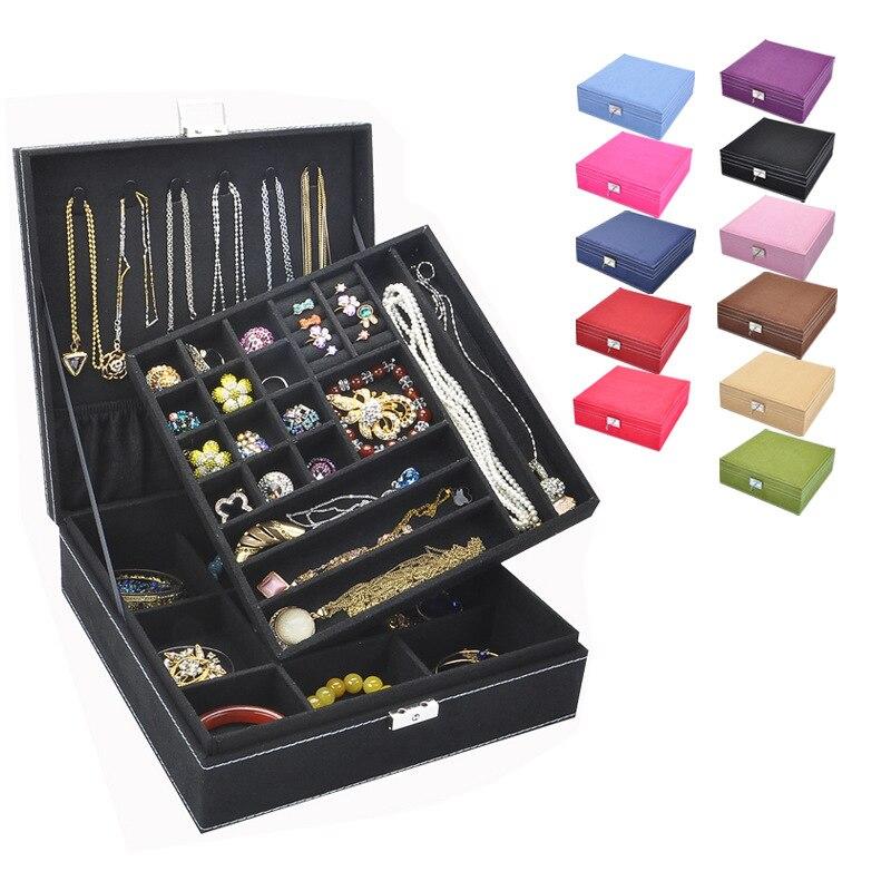 موضة الفانيلا مربع كبير صندوق مجوهرات تخطيط بسيط 2 طبقات ماكياج المنظم المختنق حلقة قلادة صندوق تخزين