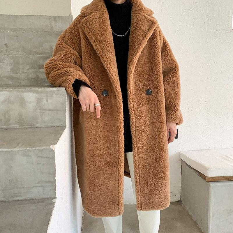 Abrigo de invierno para hombre, abrigo mullido de piel de lana para hombre, Jersey, prendas de vestir de gran tamaño, prendas de vestir cálidas para otoño, chaquetas de felpa, chaqueta para hombre