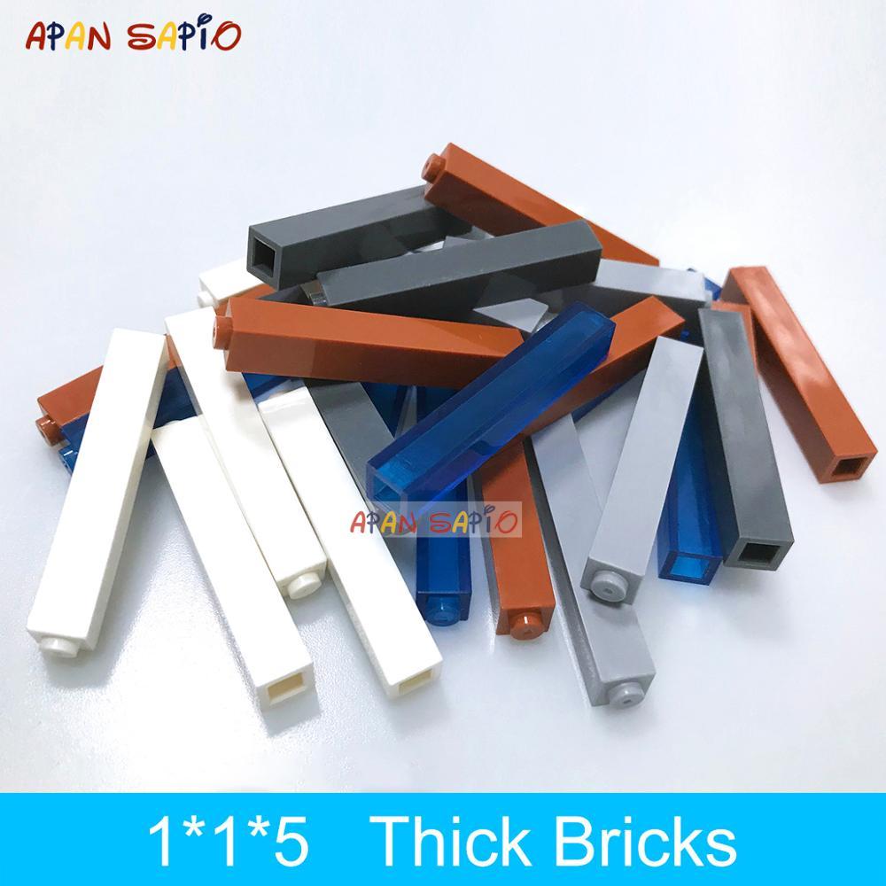 20 шт. DIY строительные блоки толстые кирпичи 1x1x5 точек развивающие творческие пластиковые игрушки для детей Совместимые бренды детские подар...