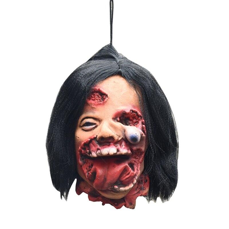 Decoraciones de Halloween, casa embrujada, habitación, Horror, miedo, cara podrida, cabestrillo masculino, látex odioso, cabeza rota, accesorios sangrientos
