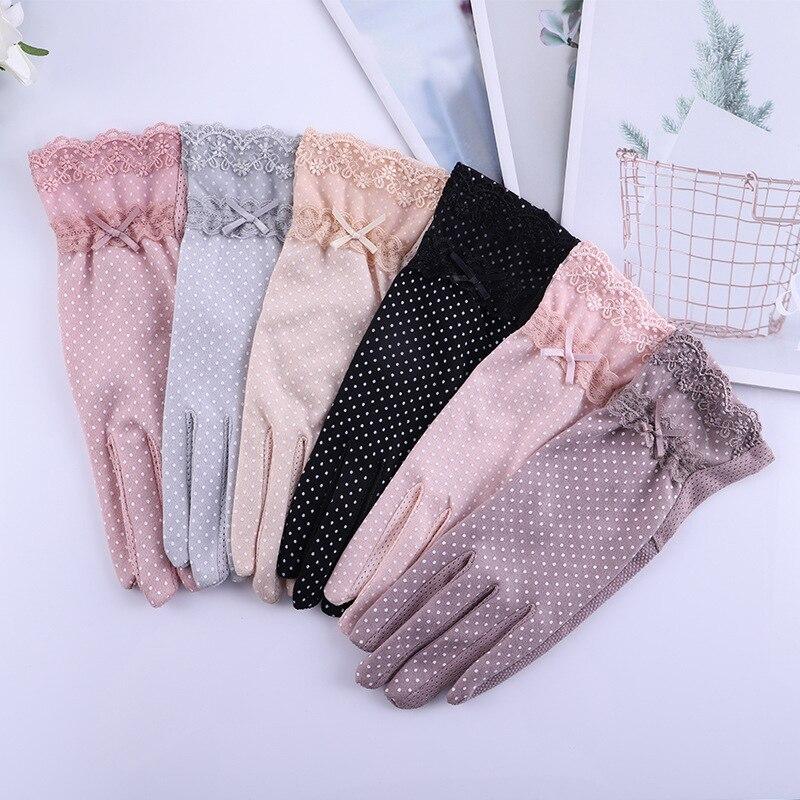 Тонкие перчатки с защитой от УФ-лучей, кружевные волнистые солнцезащитные перчатки с бантом, перчатки для вождения, перчатки для сенсорного...