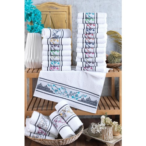 Floral Embroideried 12'li 30 X50 cm Hand and Face Towel Set