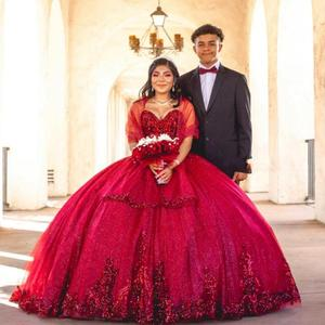Sequins Sweetheart Lace Ball Gown Sweet 16 Dresses With Wraps Crost Back Princess Quinceanera Dresses Vestidods De Festia