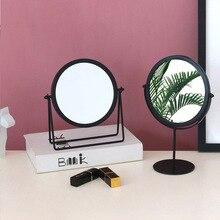 Miroir de maquillage européen rond Portable Dressing bain miroir en fer forgé or cadre vanité miroirs bureau ornements décoratifs