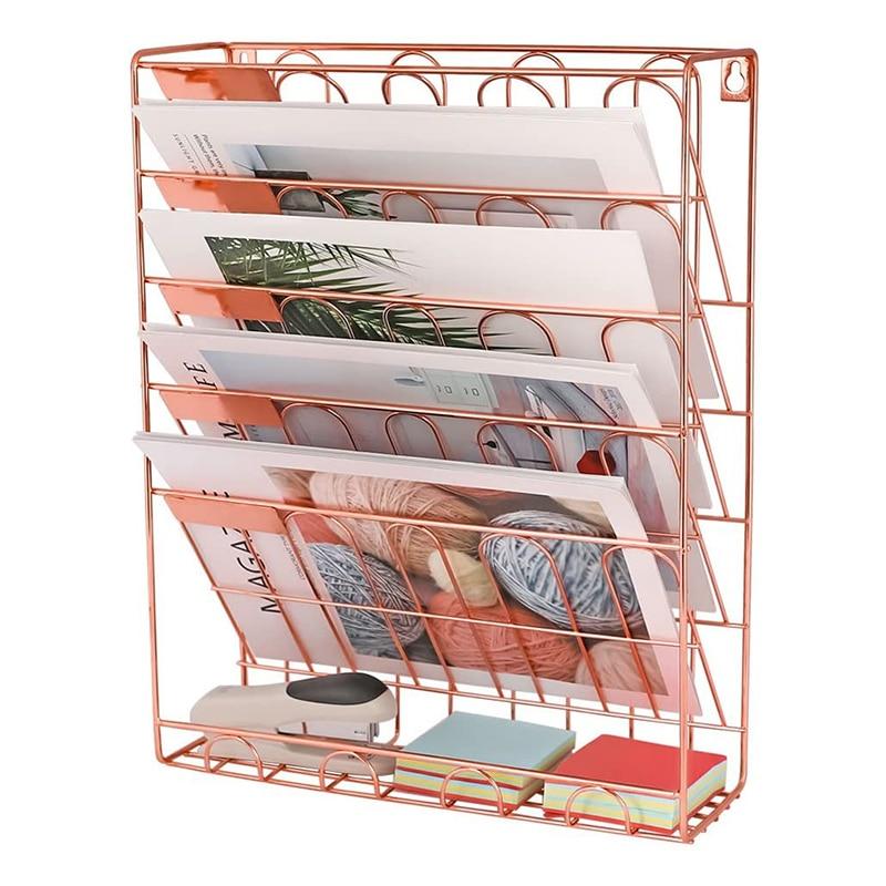 1pcs Creative Wall-Mounted Metal Bookshelf Home Magazines Storage Rack Desk Book Holder