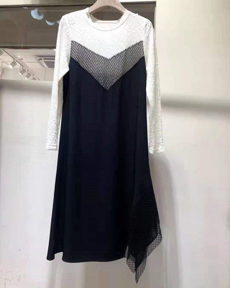 Женское кружевное платье в стиле пэчворк, черное или белое Повседневное платье с длинным рукавом, осень 2021