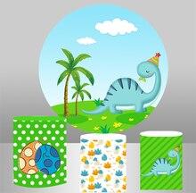 Kreis hintergrund baby dusche runde hintergrund nette cartoon dinosaurier geburtstag party tisch abdeckung zylinder plinths elastische YY-298