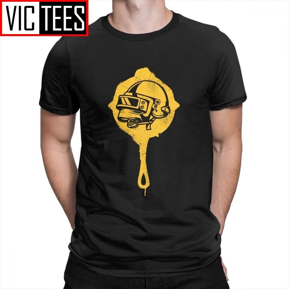 PUBG camiseta Pan Helmet GANADOR CENA de POLLO adulto Crewneck manga corta regalo camiseta camisetas novedad 100% algodón