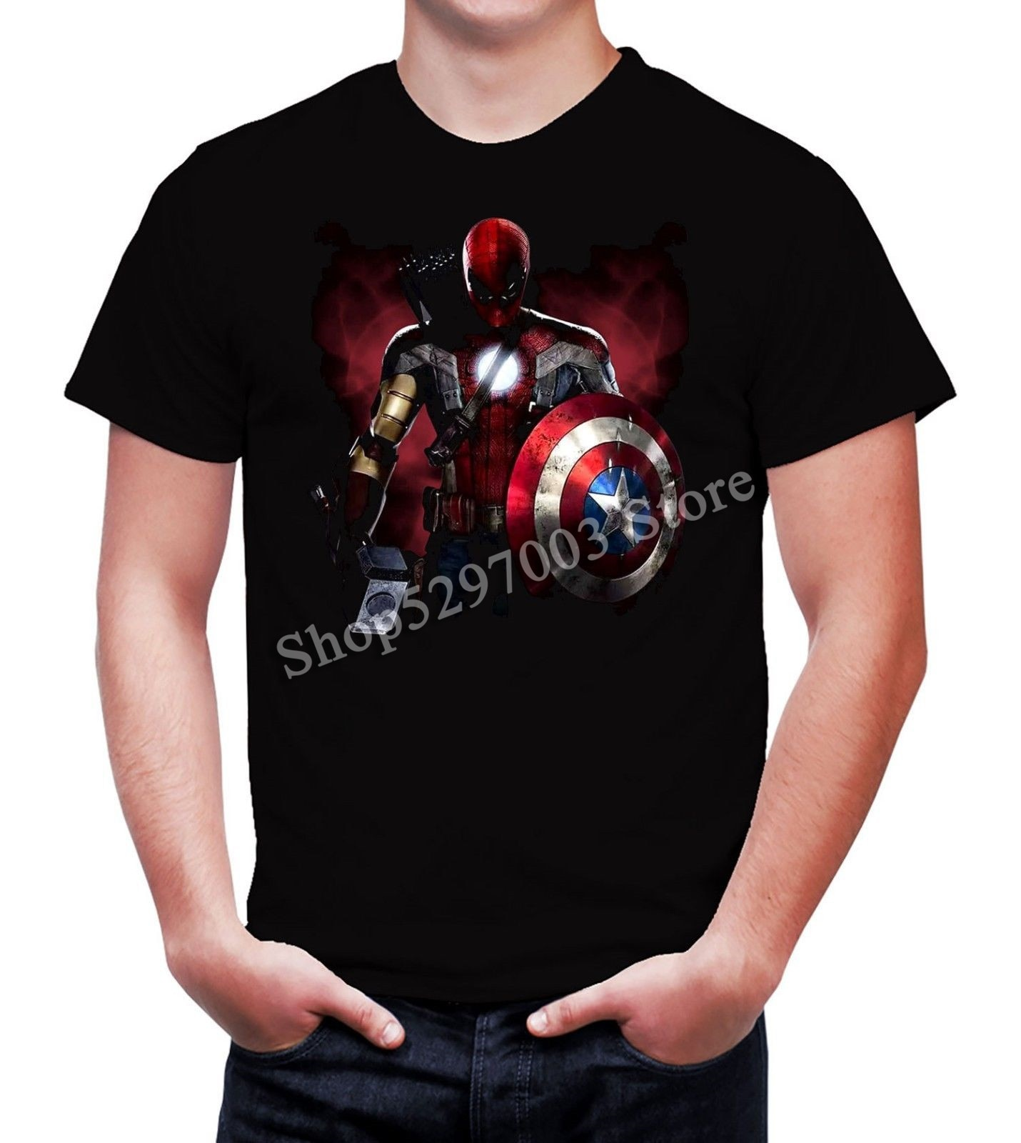 Camiseta masculina marvel super-herói mash up, thor, homem de ferro, homem spioder, boné américa harajuku camiseta