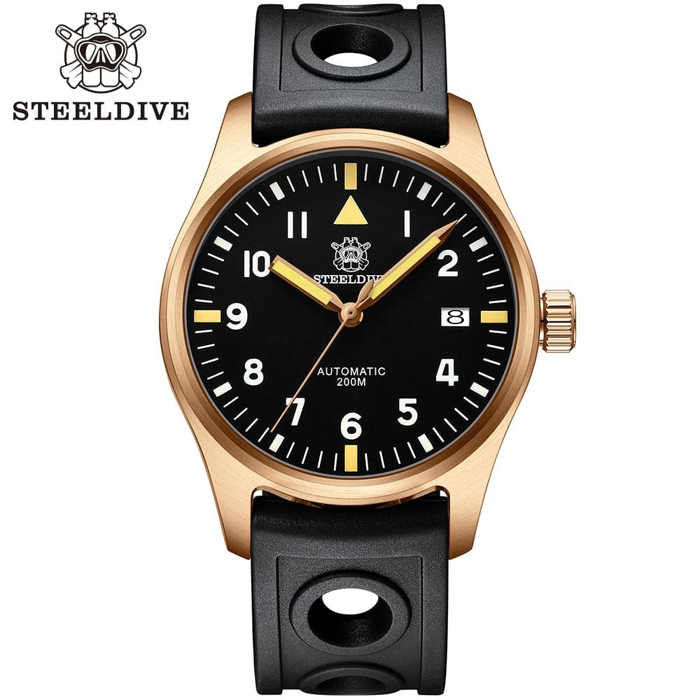STEELDIVE-ساعة يد طيار يابانية برونز 1940S ، أوتوماتيكية ، C3 ، فائقة الإضاءة ، 200 متر ، للغوص ، ميكانيكية ، طيار