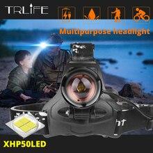Süper parlak Led far orijinal Xlamp xhp50 yüksek güçlü USB led far kafa lambası kullanımı 3*18650 el feneri torch