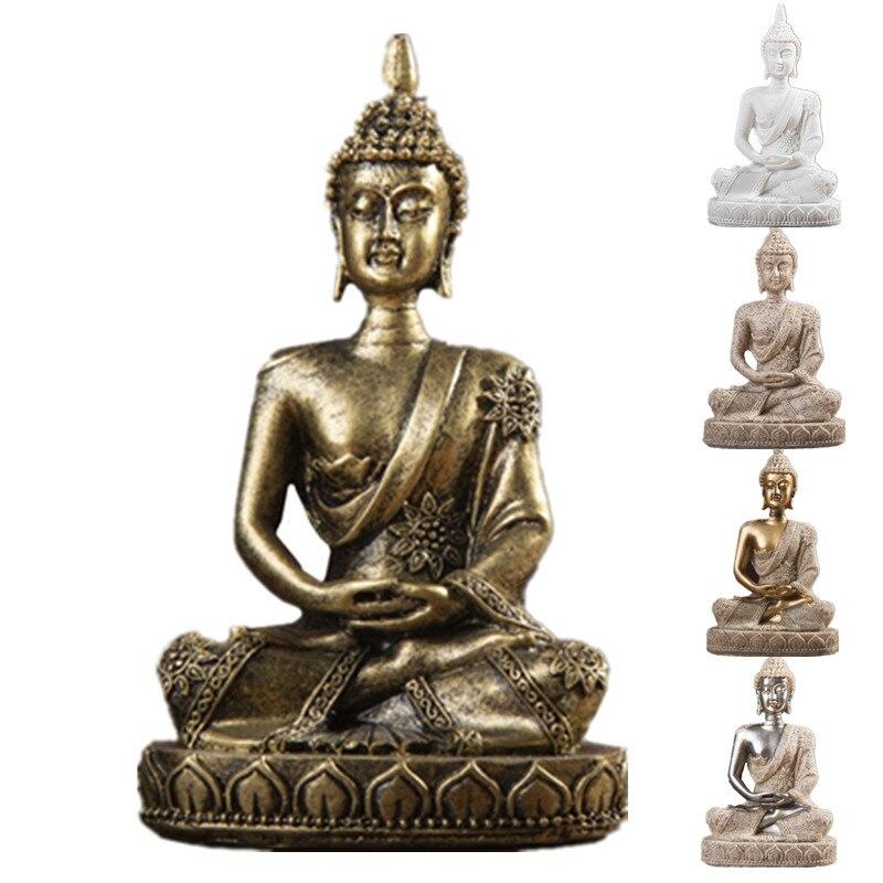 11cm piedra arenisca natural India estatua de Buda Fengshui escultura de Buda sentado figuritas Vintage decoración del hogar uso para acuario