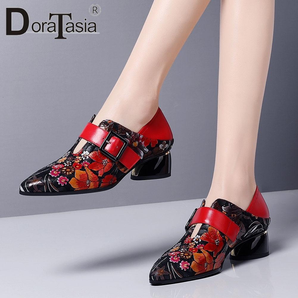 DORATASIA-أحذية نسائية كلاسيكية بإبزيم ، أحذية ربيعية ، كعب عالي ، أوقات الفراغ ، أحذية مكتبية غير رسمية
