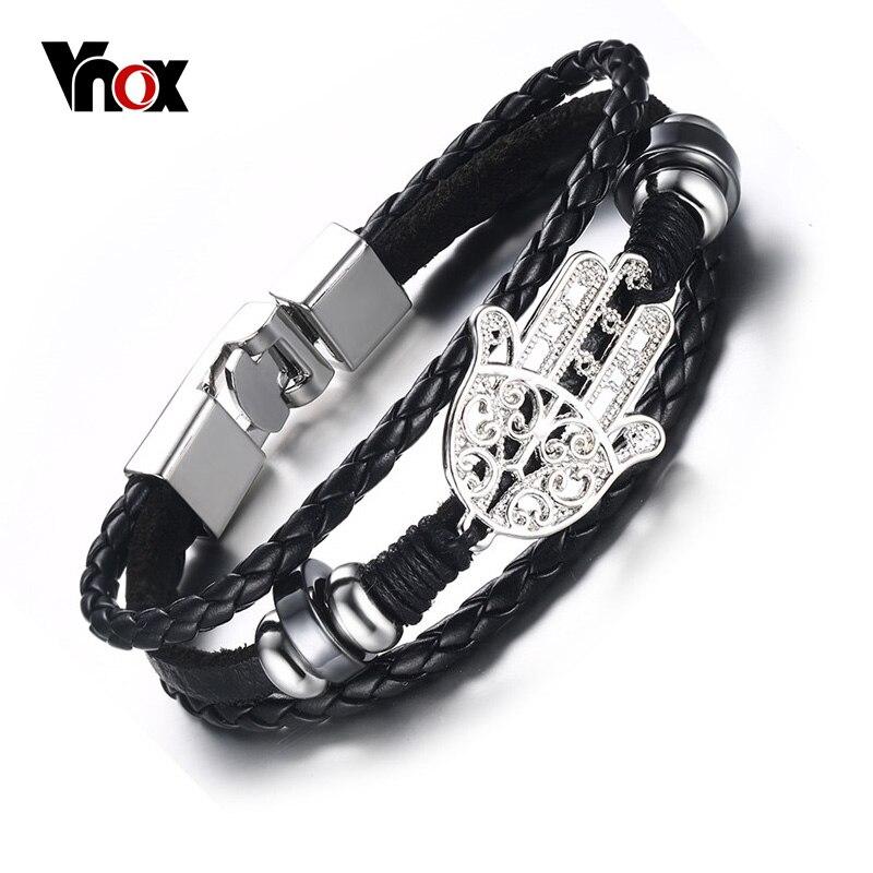 Vnox черный плетеный кожаный браслет для Для мужчин ювелирные изделия Хамса Для Мужчинs Пояса из натуральной кожи Браслеты