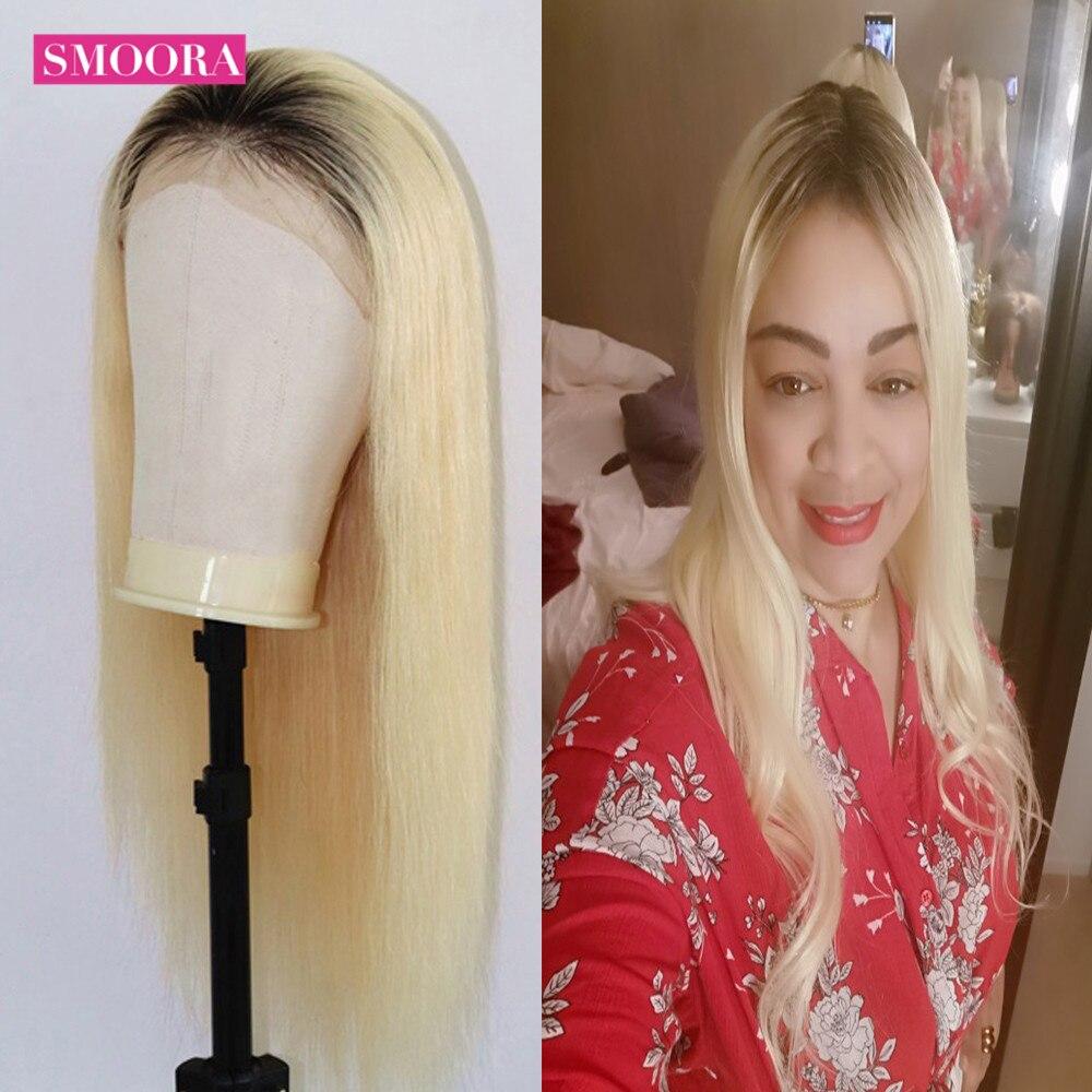1B/613 Honing Blonde Lace Front Pruik Middelste Deel 13X1 Peruaanse Straight Ombre Menselijk Haar Pruiken 150% remy Pre Geplukt Kant Deel Pruik