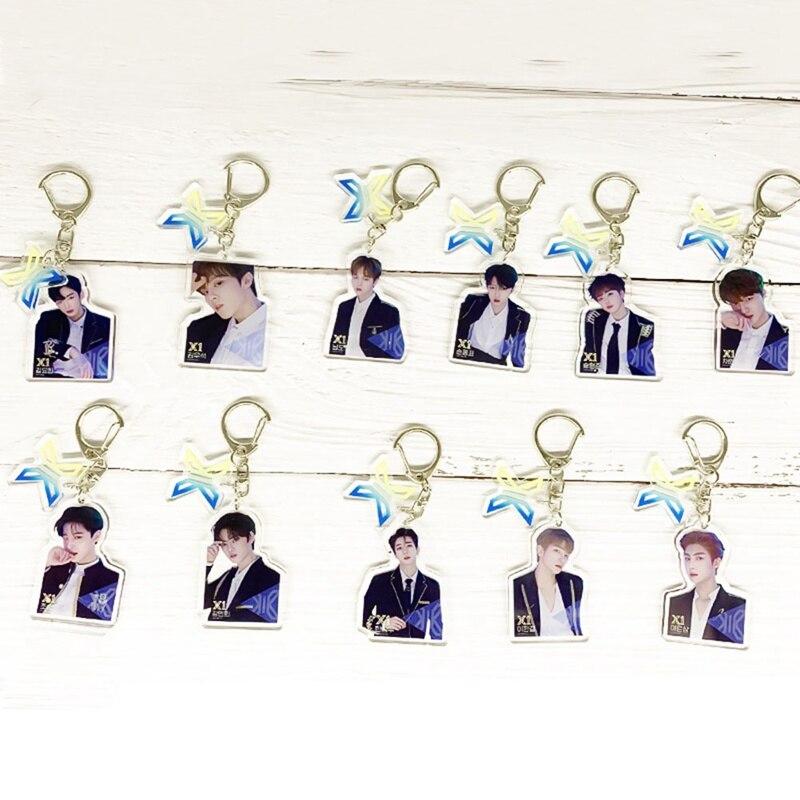 2019 Kpop Keychain PRODUCE X 101 RUNWAY SHOW Group X1 Album Light Stick Keyring Acrylic Key Ring