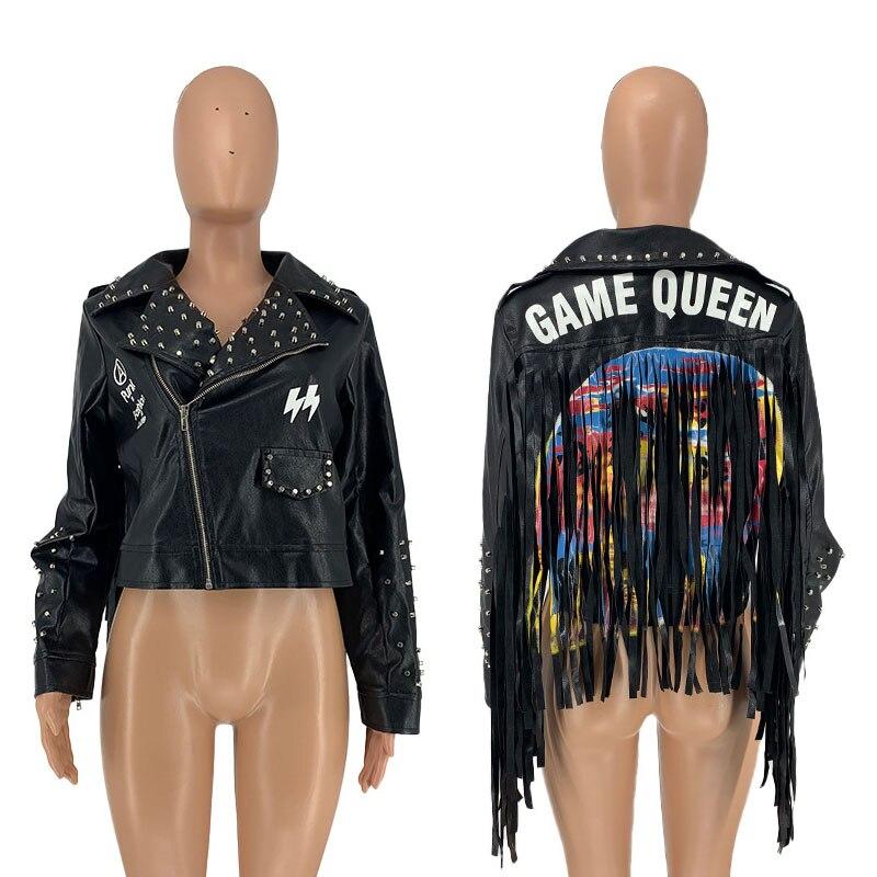 سيدة مرحلة الملابس بولي Leather سترة جلدية كول فتاة برشام شرابة معطف قصير اللون المرقعة الشرير Bomber فو الجلود حجم كبير أبلى
