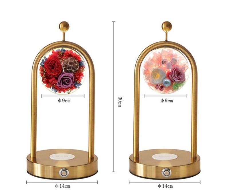 Romantic immortal flower rose specimen table lamp mobile phone wireless charging touch induction arched creative table lamp gift enlarge