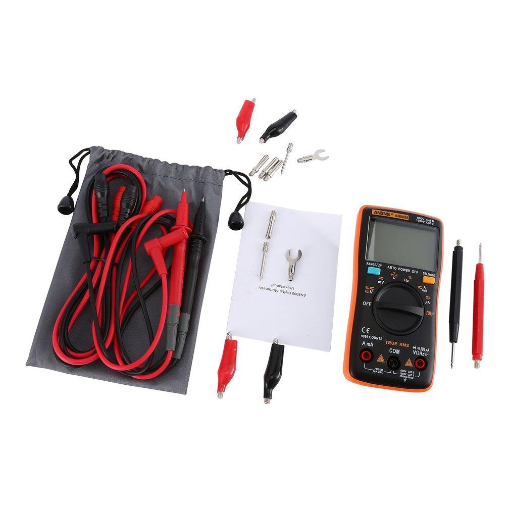 ANENG AN8008 Цифровой мультиметр 9999 отсчетов с подсветкой AC/DC Вольт Ампер Ом Емкость Частота Диод тестер мультиметр