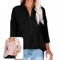breathable trendy solid color women shirt comfortable tunic shirt solid color for travel