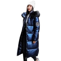 women x long oversize blue down jackets thick casual with fur epaulet 2020 winter female down coats hooded solid piumini donna