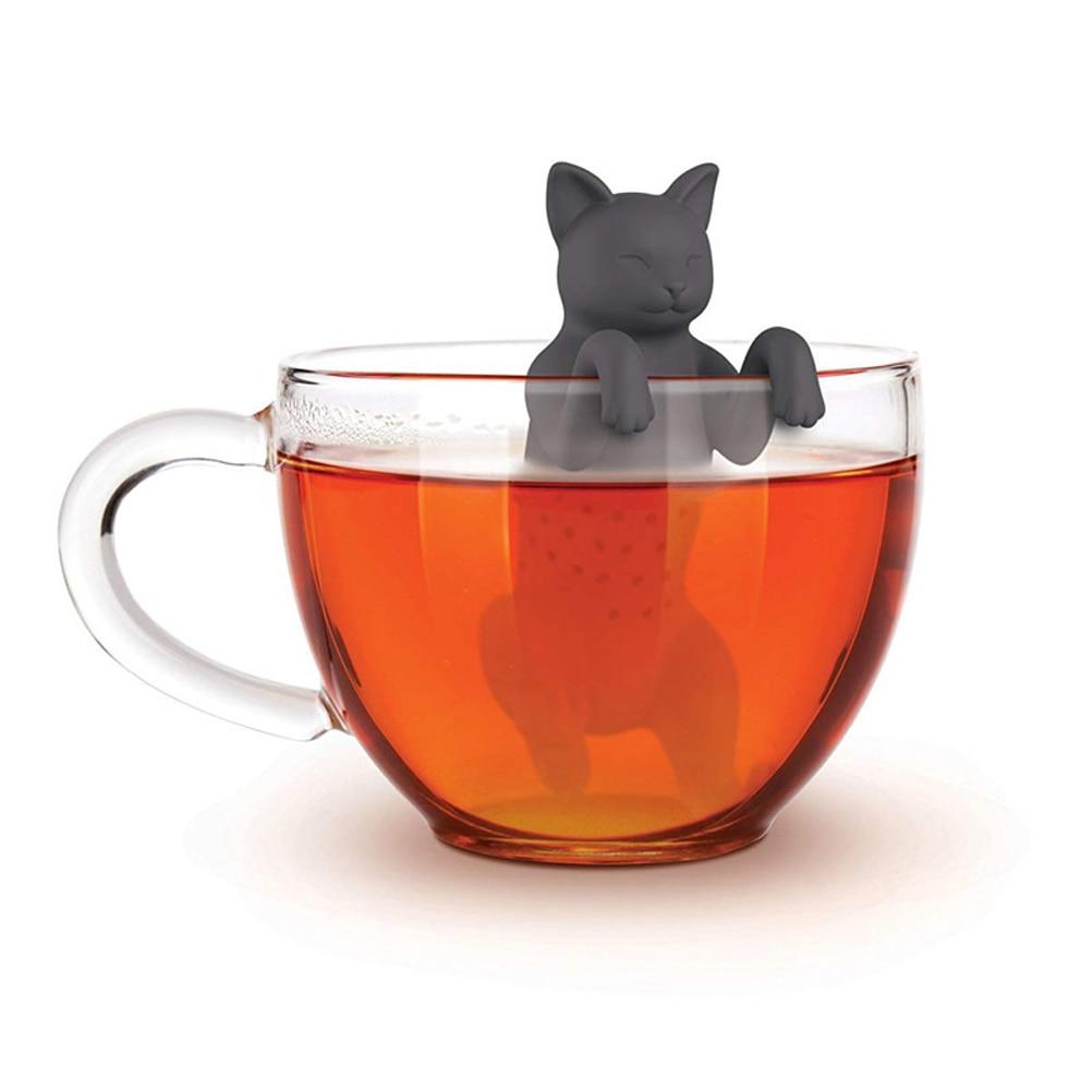 Infusor de té de gato para mascotas grado alimenticio caucho de silicona Purrtea Animal té filtro Straine negro gris Herbal filtro difusor de especias