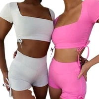 summer european and american hot style straps new womens square neck short sleeved backless sexy sports suit women
