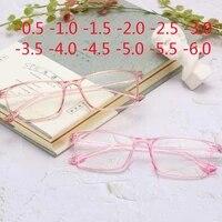 new square frame prescription men eyeglasses vintage optical women myopia glasses 0 5 1 1 5 2 2 5 3 3 5 4 4 5 5 6