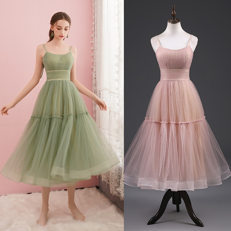 REAL PHOTO green party dress bridal bridesmaid dress women plus size factory price cheap tulle simpl
