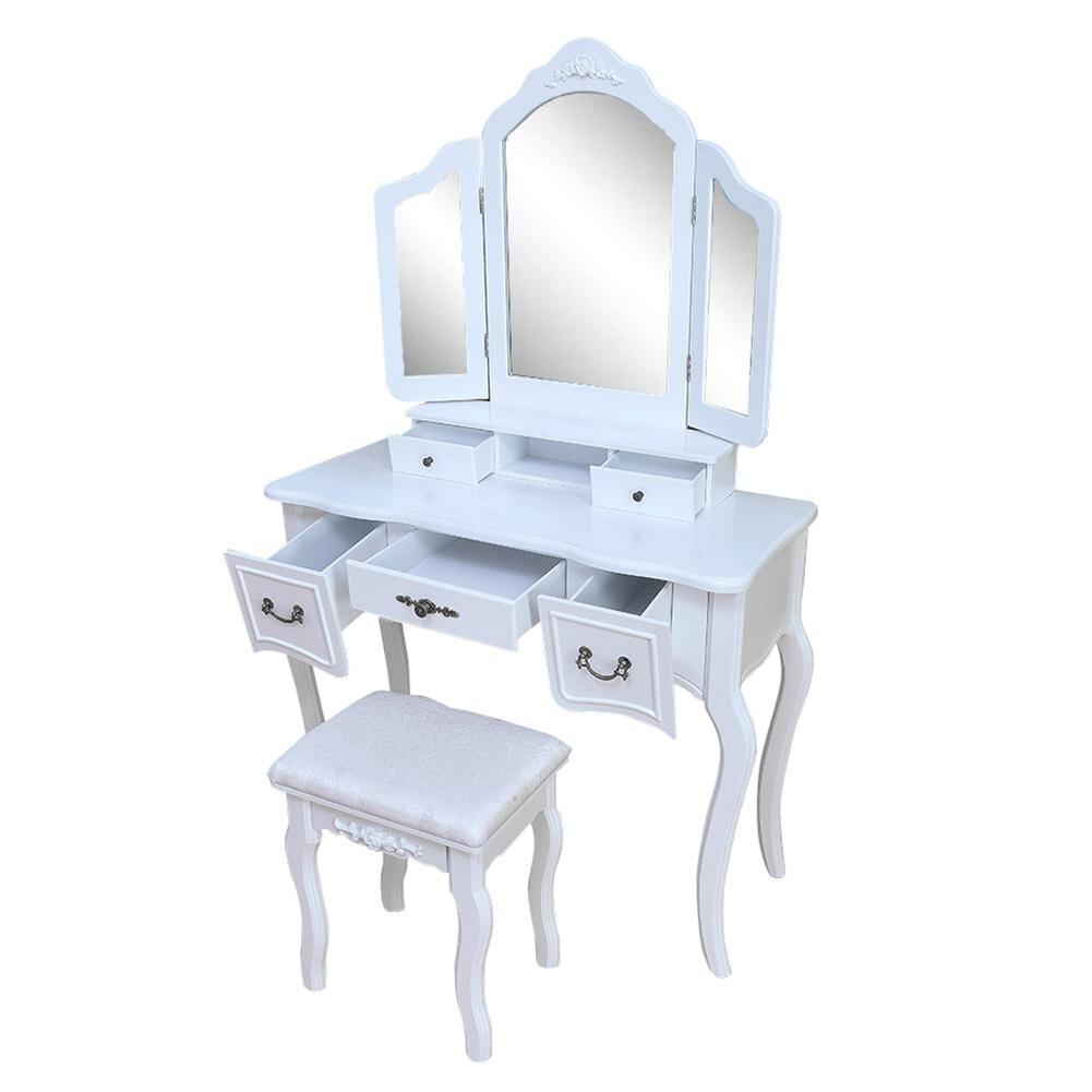 منضدة الزينة الحديثة لغرفة النوم ، منضدة الزينة مع أدراج مرآة ثلاثية قابلة للطي ، منضدة الزينة ، مجموعة مكتب المكياج