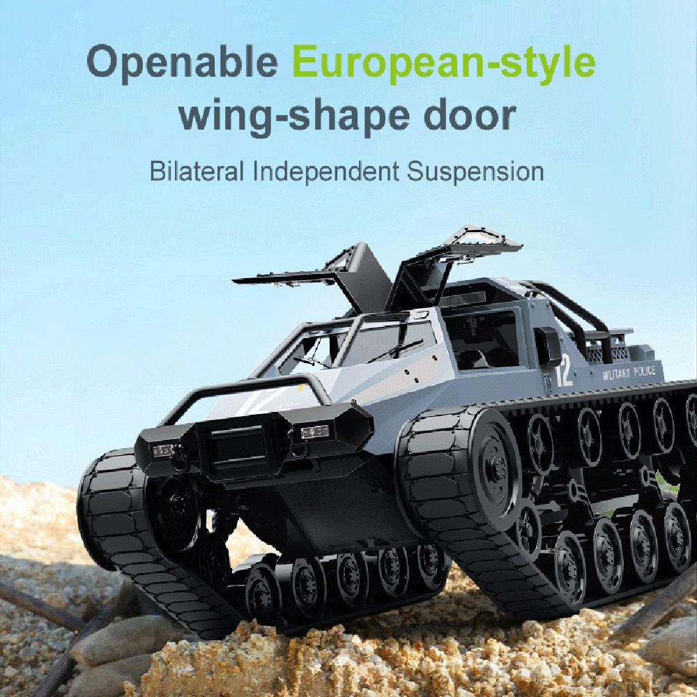 RC Tank 1:12 Scale Remote Control Crawler High Speed Tank Off-Road 4WD RC Car 2.4GHz Radio RC Army Truck Drift Tanks for Kids enlarge