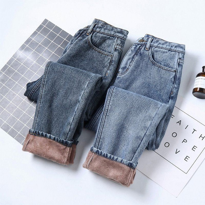 Fleece Jeans Woman Autumn Winter Straight Loose Plus Velvet Thicken High Waist Black Jeans Casual Long Denim Harem Pants C6758