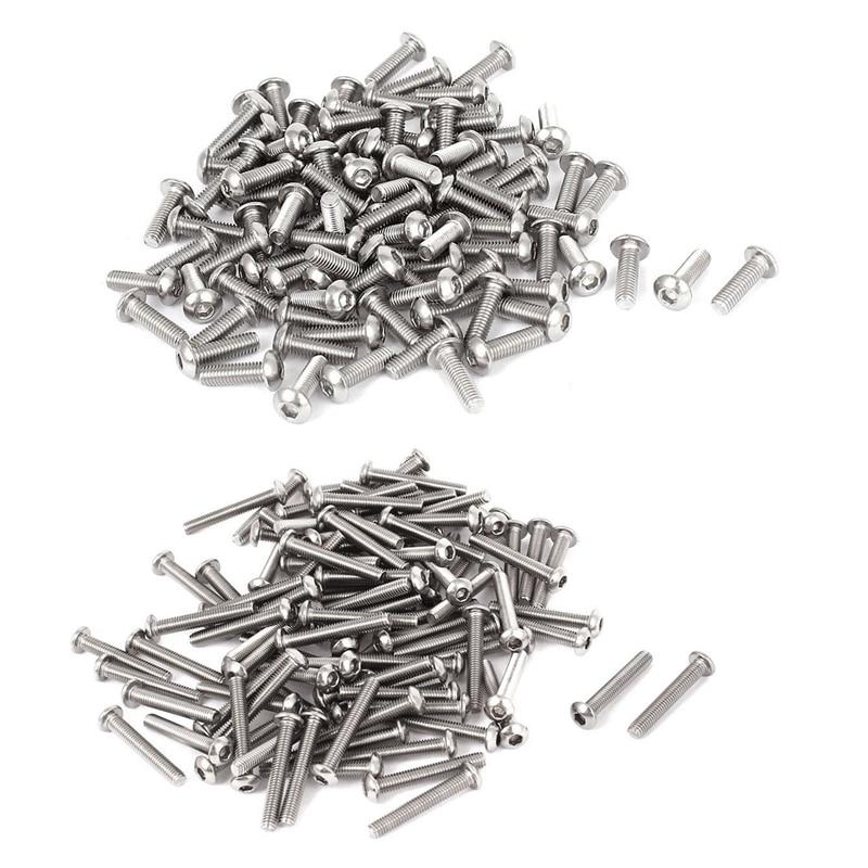 200 Pcs 0.5Mm Pitch Stainless Steel Hex Socket Button Head Screws, 100 Pcs M3X10Mm & 100 Pcs M3X20Mm Promotion