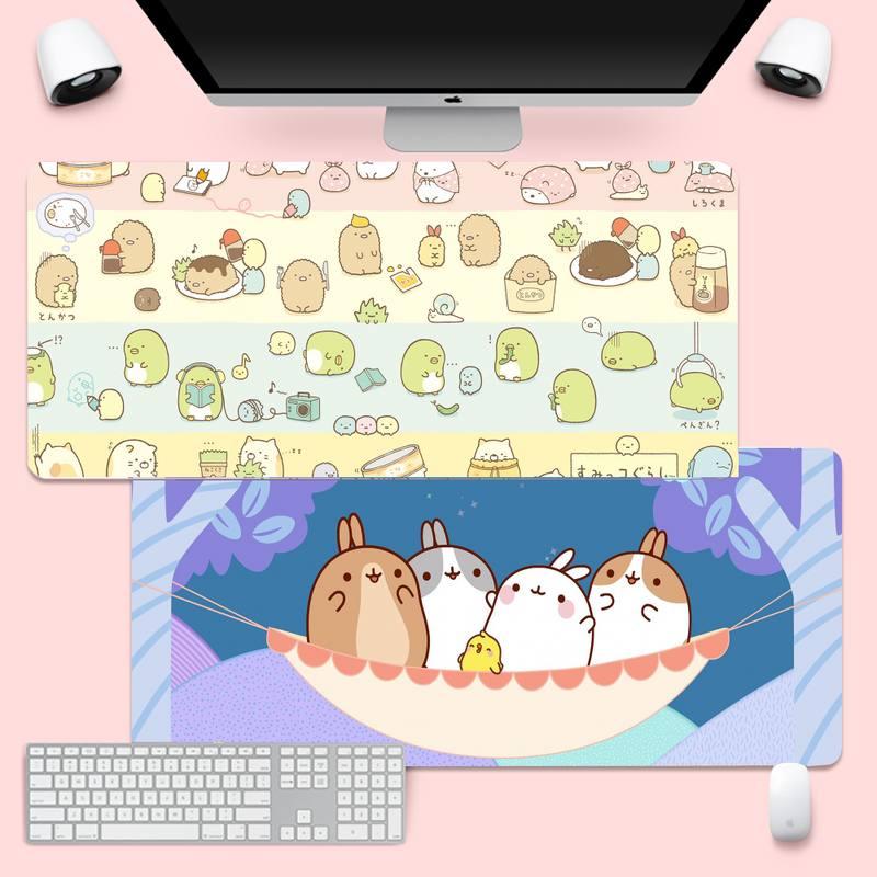 Kawaii molang комфорт Мышь коврик игровой Мышь pad XL Большой геймер мягкая клавиатура PC стол коврик Takuo анти-скольжения Удобная подкладка