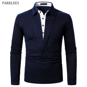 Double Collar Polo Shirt Men 2021 Spring Mens Long Sleeve Polos Homme Casual Slim Fit Business Camisas de Hombre Male Jerseys