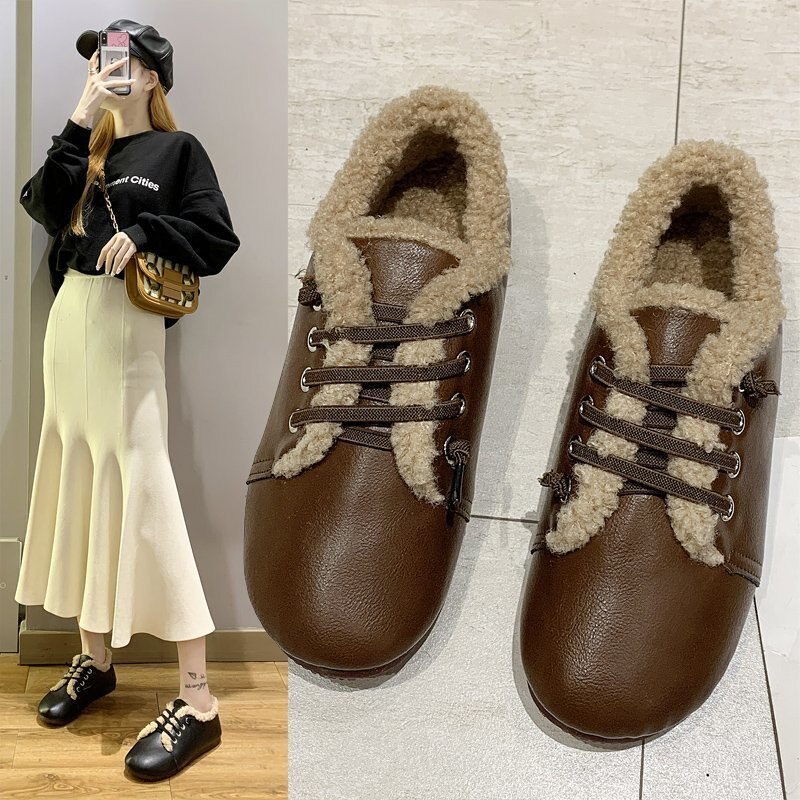 Cotton shoes female lace retro student British style new thick and velvet autumn and winter cotton shoes comfortable trend hot
