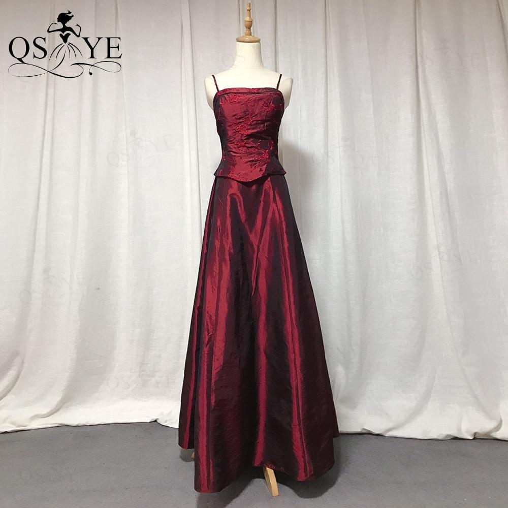 QSYYE-فستان سهرة برباط ، عنابي ، قماش تفتا ، فستان حفلة ، مشد ، عتيق ، 2021
