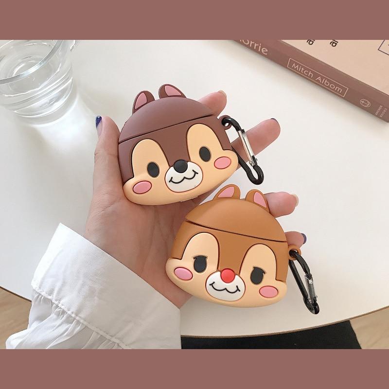 Teyomi, bonita funda de dibujos animados 3D de ardilla para Airpods 1/2, funda de silicona blanda, funda para auriculares para niños y niñas