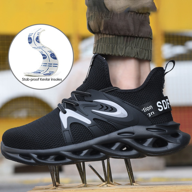 2021 الرجال الكاحل أحذية السلامة العمل مكافحة تحطيم مكافحة ثقب خفيفة الوزن الذكور الصلب تو حذاء أسود تنفس موقع البناء
