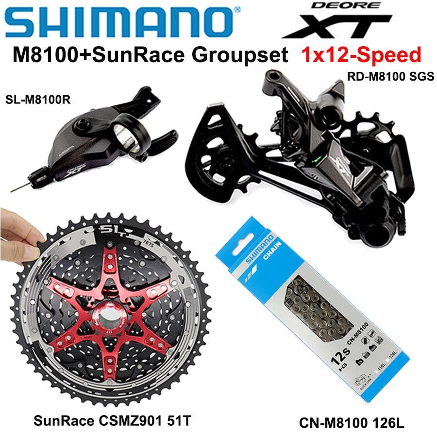 Переключатель передач SHIMANO DEORE XT M8100, комплект компонентов для горного велосипеда, скорость 1x12, CSMZ901, 11-51T, 12 s, цепь M8100, задний переключатель передач