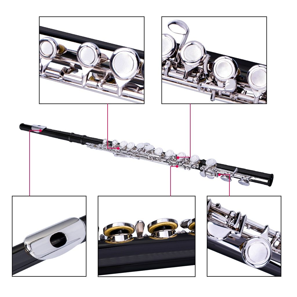 NAOMI Professional 16-Holes C Key Concert Flute Closed Pore Cupronickel Silver Plated Flute enlarge