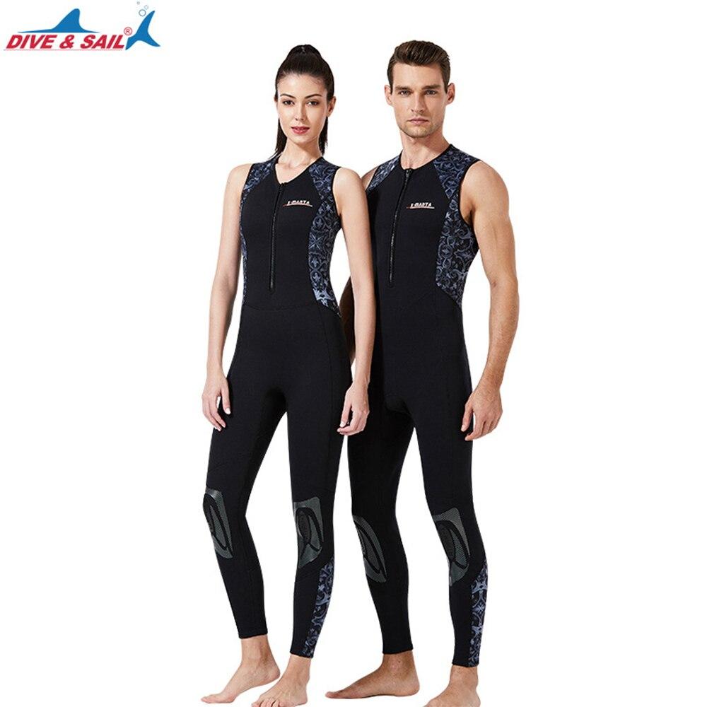 Men's Womens 3mm Neoprene Long John Wetsuit Black Easy Stretch Flatlock Stitching Sleeveless Full Le