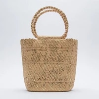 summer women straw beach bag gold handmade lady handbags designer raffia round rattan bags bohemian casual woven basket bag 2021