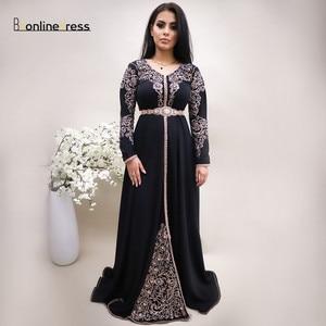 Bbonlinedress Moroccan Evening Dresses 2020 Embroidery Caftan Arabic Party Gown Dubai Kaftan Dress Formal Dress robe de soiree