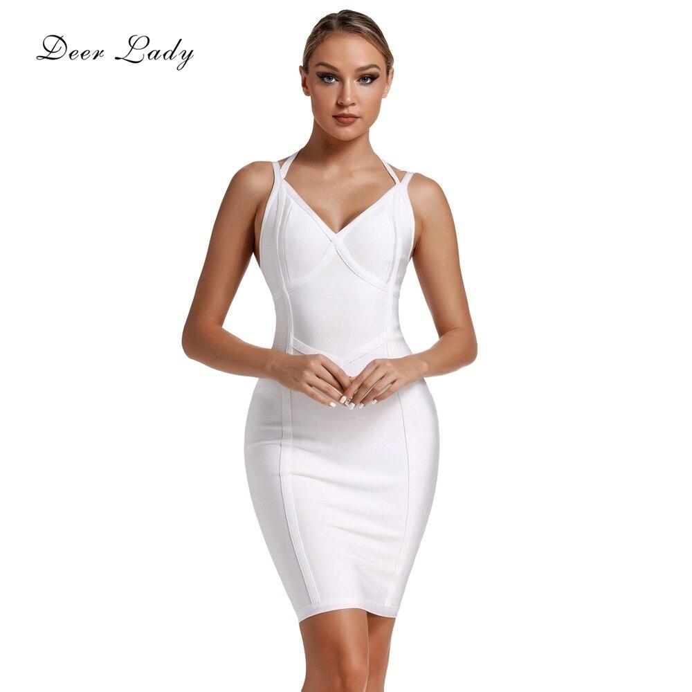 Женское Бандажное платье с принтом оленя, Белое Облегающее вечернее платье с лямкой на шее, Клубное красное платье, лето 2019