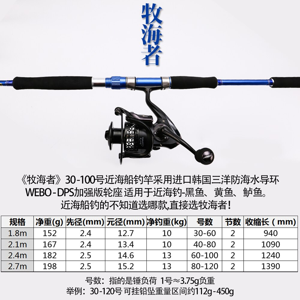 Boat fishing rod 1.8m 2.1m 2.4m 2.7m Spinning XH Power 110-450g Big Game Boat  2 Sections Saltwater Boat Rod Ocean Fishing Rod enlarge