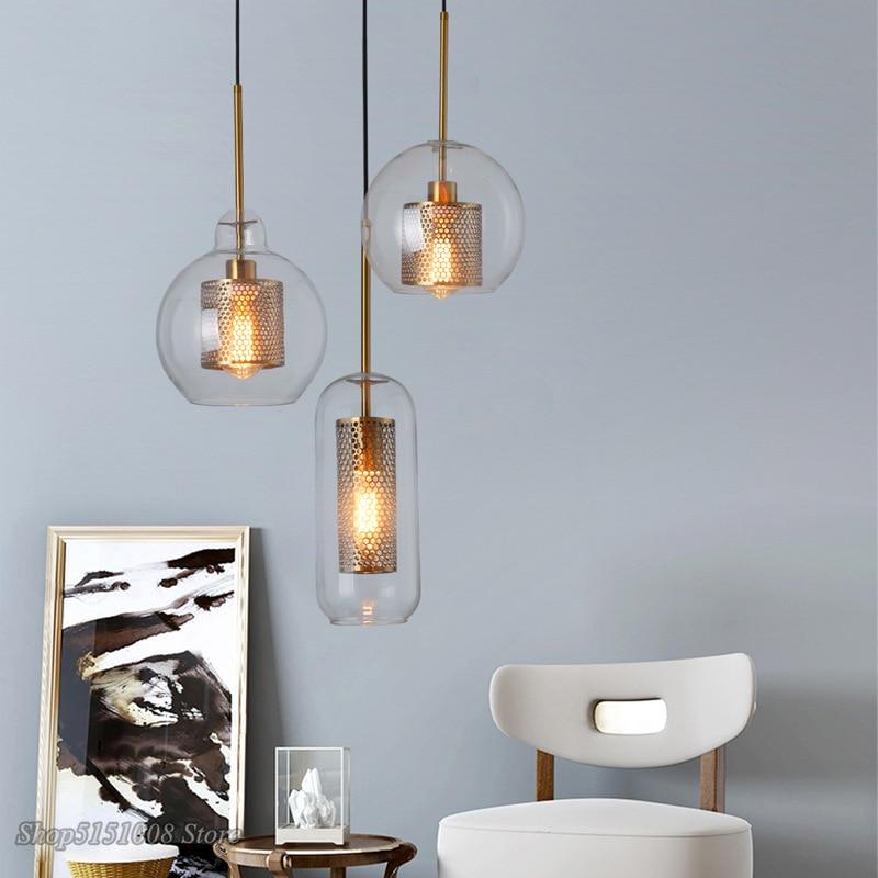 مصباح معلق Led صناعي على شكل كرة زجاجية ، تصميم شمالي حديث ، إضاءة زخرفية داخلية ، مثالي للمطبخ أو غرفة الطعام.